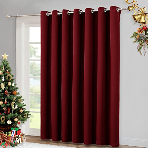 Blackout Blinds for Sliding Glass Door - Outside Curtains for Patio, Wide Width Drapes for Living Room by NICETOWN (Burgundy Red, 100