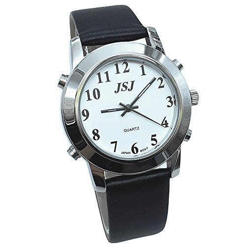 English Talking Quartz Watch for Blind People or Visually Impaired People or the Elderly Leather Strap ()