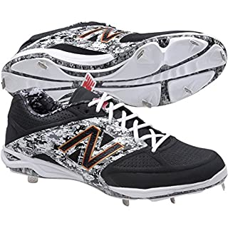 New Balance Men's L4040 Metal Low Baseball Shoe,Black/Red,16 2E US
