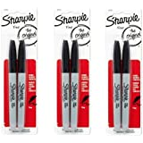 Sharpie Permanent Markers, Fine Point, Black, 3 Packs of 2- 6 total (30162PP)