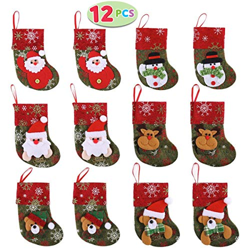 (JOYIN Set of 12 Mini Christmas 3D Stockings Gift & Treat Bags for Christmas Tree)