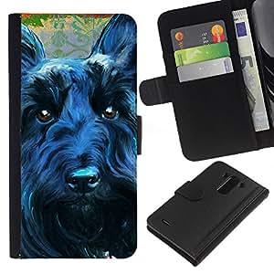 BearCase / Cuero de la tarjeta la carpeta del tirón Smartphone Slots Protección Holder /// LG G3 /// Terrier Negro escocés perro canino Mascota