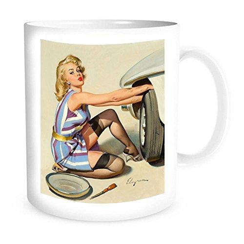 Ceramic Coffe Mug with Vintage Pin-Up, Quick Change, Brown & Bigelow Calendar Illustration, 1967 - By Gil - Calendar 1967