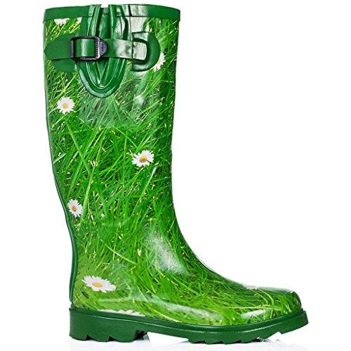 Spylovebuy KARLIE Flat Festival Wellies Wellington Knee High Rain Boots Daisy Pf7WAHsS