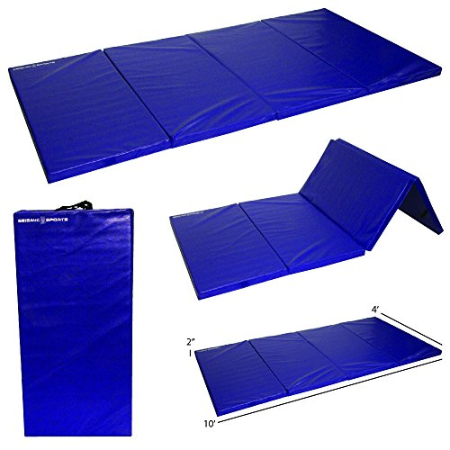 Seismic Sports SSM-4102RB - Blue Gymnastics Mat for Tumbling Yoga Exercise Karate Cheer, 4' x 10' x (4x10' Speakers)