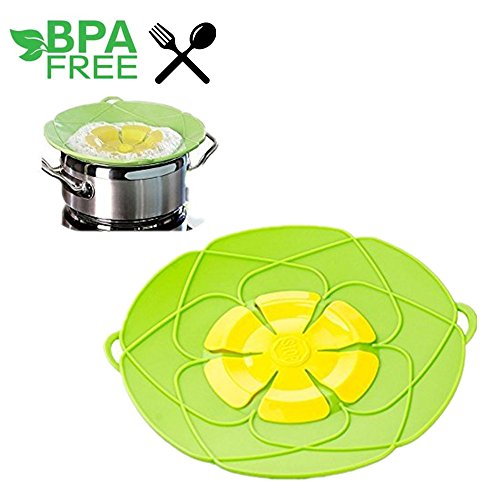 Flower Silicone Cooking Tools lid Spill Stopper Silicone Lid Cover For Pan Kitchen Tool (S, Green)