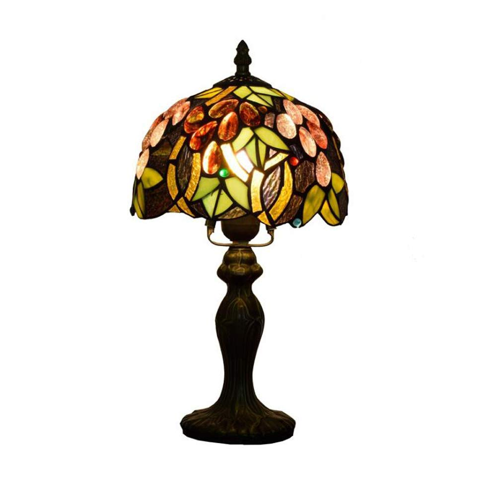 KUANDAR Light Grape Style 8-inch Stained Glass Table Lamp Suitable for Living Room Dining Room Study Room Bedroom Bathroom Corridor Balcony Stairs Path Hotel Restaurant Cafe Bar Library, A