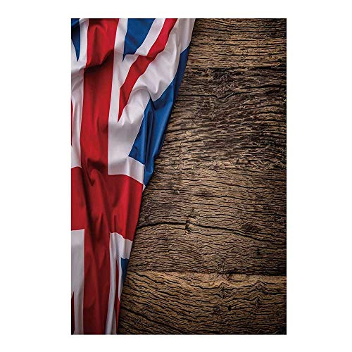 (Union Jack Stylish Backdrop,Flag of United Kingdom on Old Oak Wooden Board English Nation Country Britain for Photography,39