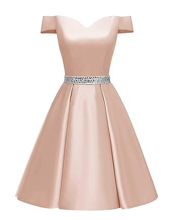 Changuan Women s Short Beaded Prom Dresses Off The Shoulder Backless Homecoming  Dress Blush-2 3efa42557