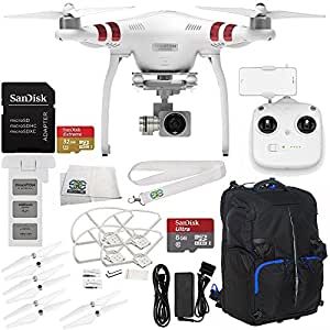 DJI Phantom 3 Standard with 2.7K Camera and 3-Axis Gimbal & Manufacturer Accessories + SanDisk Extreme 32GB microSDHC Memory Card (SDSDQXN-032G-G46A) + Backpack for DJI Phantom Drones + MORE