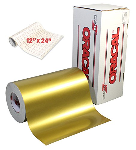 Thermal Transfer Film Roll (ORACAL Gloss Gold Metallic Adhesive Craft Vinyl for Cameo, Cricut & Silhouette Including Free Roll of VViViD Clear Transfer Paper (15ft x 12