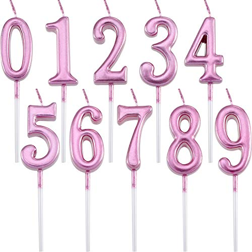 Maitys 10 Pieces Birthday Numeral Candles Glitter Cake Numeral Candles Number 0-9 Cake Topper Decoration for Birthday Party Supplies (Pink)