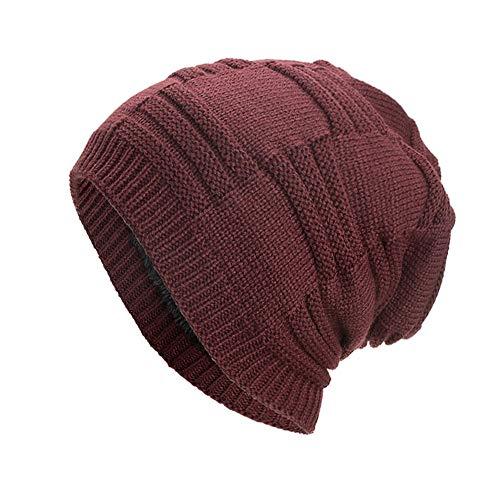 Clearance DEATU Hat Women Men Warm Baggy Weave Crochet Unisex Winter Knit Ski Beanie Skull Caps Hat Hot Sale(a-Red,One Size)