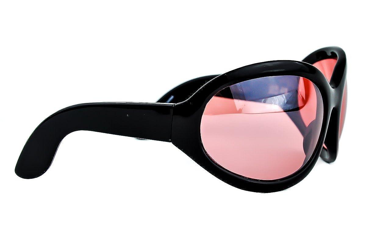 Amazon.com: Rojo Lente anteojos de sol de gran tamaño Sexy ...