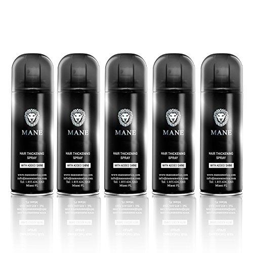 Mane America Hair Thickening Spray with Added Shine (5 Pack) (Dark Brown)