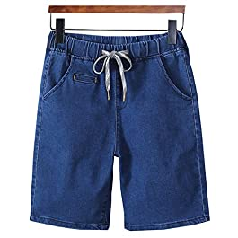 LifeHe Men's Drawstring Elastic Waist Slim Fit Denim Shorts Cargo Pants