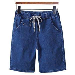 LifeHe Men's Drawstring Elastic Waist Slim Fit Denim Shorts Cargo Pants