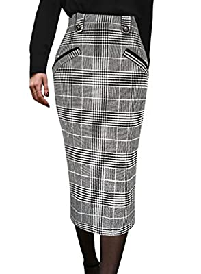 VFSHOW Womens Vintage High Waist Work Office Business Pencil Midi Skirt