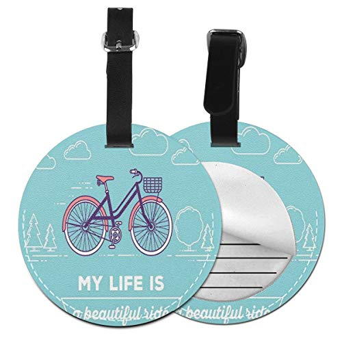 - Round Travel Luggage Tags,Retro Pastel Bike With Basket And Text My Life Is A Beautiful Ride,Leather Baggage Tag 2 PCS