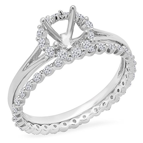 Diamond Ring Mounting - 0.65 Carat (ctw) 14K White Gold Round Diamond Semi Mount Halo Bridal Engagement Ring Set (Size 6)
