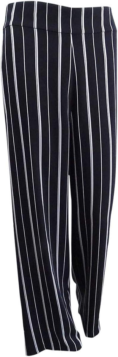 B07N7S3HWY NINE WEST Women\'s Striped Wide-Leg Pants (8, Black/White) 518YqaNs7TL