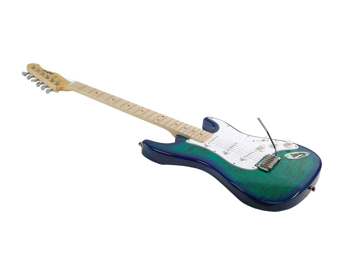 Amazon.com: Monoprice Indio Cali DLX Quilted Maple Top Electric Guitar with Gig Bag Blue Burst: Musical Instruments