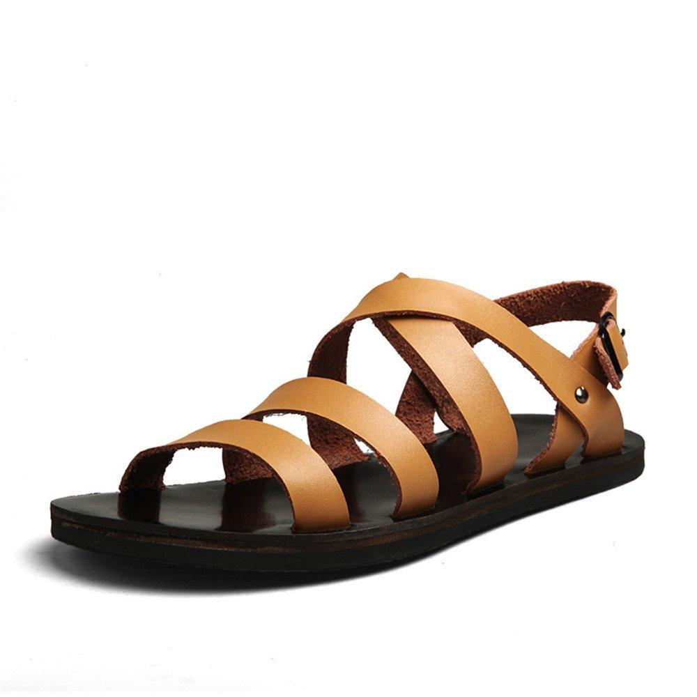 Qingqing Herren Sandalen Casual Beach Schuhe Leder Rutschfeste Indoor Atmungsaktive Sandalen geeignet für Indoor Rutschfeste und Outdoor-Freizeit-Sport Herren LederSandale geschlossen Schweißabsorbiere Braun 6603a8