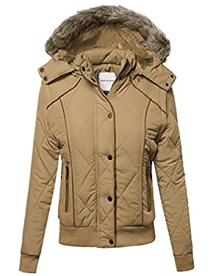 Made by Emma MBE Women's Quilted Puffer Jacket With Detachable Faux Fur Hood