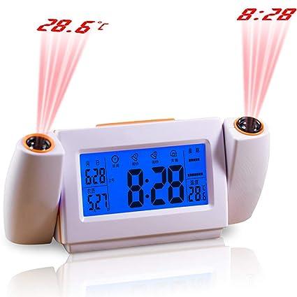 Reloj De Proyección Atómica Con Temperatura - Proyector De Temporizador Digital, Proyección De Techo De