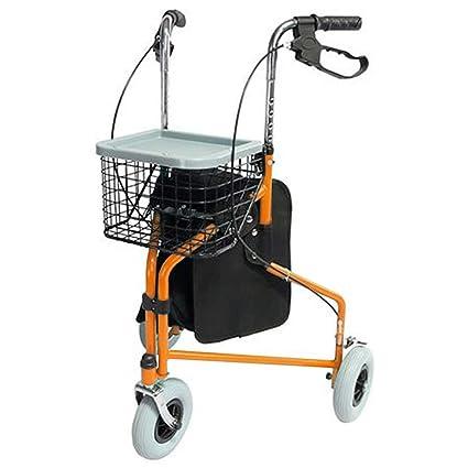Andador de 3 Ruedas | Naranja | Mod. Caleta | Rollator Plegable | Altura Regulable