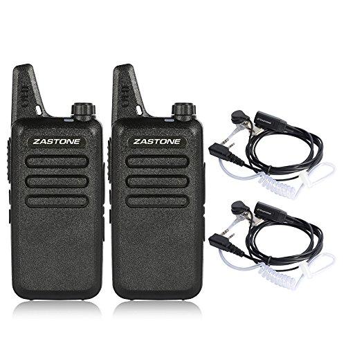 Zastone X6 Mini Rechargeable Long Range Two-Way Radios Earpiece 2 Pack 3W 16-Channel UHF Walkie Talkies by Zastone