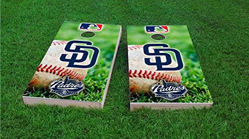 Tailgate Pro's San Diego Baseball Cornhole Boards, ACA Corn Hole Set, Comes with 2 Boards, 8 All Weather Bags & 2 Board Hole Lights