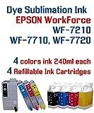 Dye Sublimation Ink - WorkForce WF-7210 WF-7710 WF-7720 printer Refillable ink cartridge package - 4 multi-color bottles 240ml each color - 4 Refillable ink cartridges