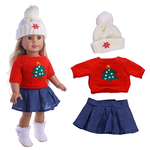 - Fiaya 18 inch Our Generation American Girl Doll Christmas 3Pcs Cute Knit Hat+Sweaters+Skirt Outfits (A)