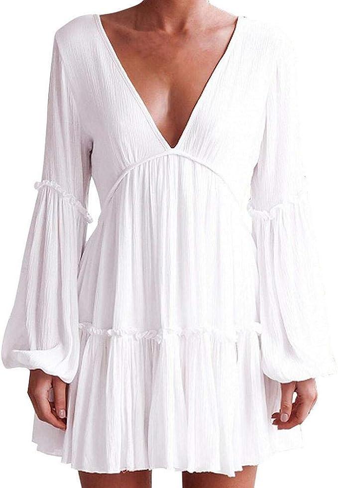 VJGOAL Moda de Verano Mujer Blanco Sexy Cuello En V Flojo ...