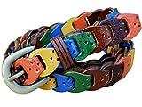 Panegy Prong Buckle Leather Linking Elastic Adjustable Waist Belt-multi-color