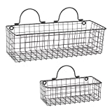 DII Assorted Rustic Farmhouse Vintage Wire Wall Basket (Set of 2), Black