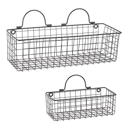 DII Assorted Rustic Farmhouse Vintage Wire Wall Basket (Set of 2), Black ()