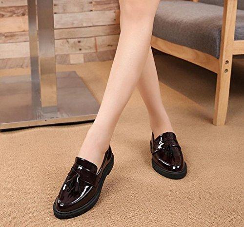 Etudiants Chaussures Mesdames Oxford Goujons Vintage Mocassins Noir Automne HwUFq6Y