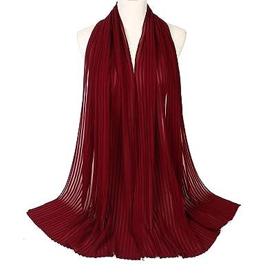 HITSAN INCORPORATION Muslim Fashion Headscarf Women Pleated Scarf Female Daily Wrap Hijabs Simple Solid Long Shawl