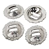 "Set of 4, 1-1/4"" Saddle Bright Silver Round Slotted Berry Concho"