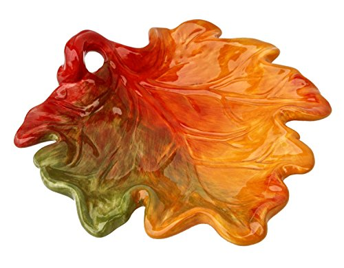 Colorful Maple Leaf Fall Halloween Thanksgiving Serving Platter 8 Inches Ceramic ()