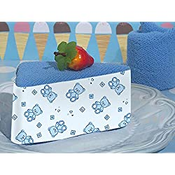 Towel cake favor blue teddy bear design