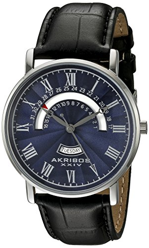 Akribos XXIV Men's AK898SSBU Round Blue Dial Three Hand Quartz Stainless Steel Strap Watch ()