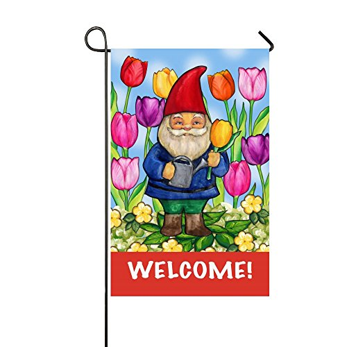 (Welcome Gnome Old Man Watering The Colorful Tulips 28x40 Inch Garden Flag House Flag - Double Sided Decorative Outdoor Flag)