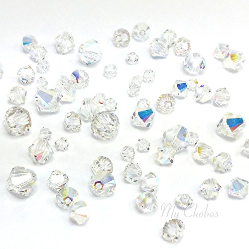 72 pcs Swarovski 5328 / 5301 Mixed Sizes in 3mm 4mm 5mm 6mm Xilion Bicone Beads CRYSTAL AB (001 AB) **FREE Shipping from Mychobos ()