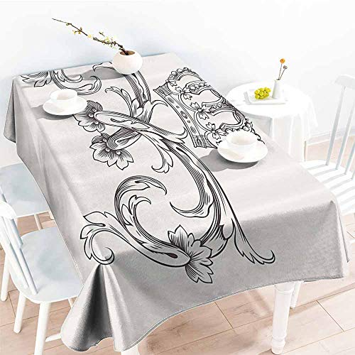 Homrkey Washable Table Cloth Medieval Decor Collection Royal Crown Vintage Curves King Palace Ribbon Monochrome Retro Art Cedar and White Washable Tablecloth W40 xL60 ()