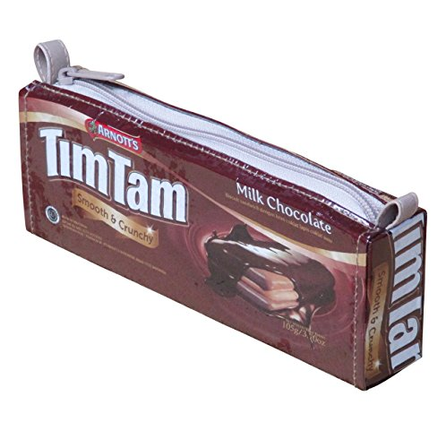 (Pencil case Tim Tam biscuit bag - Free standard shipping - upcycled vegan recycled reclaimed salvaged handmade unique gum sweets candy wrappers pen pouch gift for school student teacher appreciation)