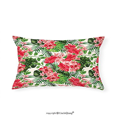 VROSELV Custom pillowcasesFloral Tropical Botanic Flowers Leaves Ivy Island Hawaiian Image for Bedroom Living Room Dorm Dark Coral Hunter Green Jade Green(12''x24'') by VROSELV