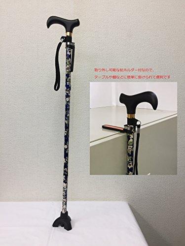 [보행보조재활지팡이] 3 점 자립 식 스틱 (꽃 무늬 블루) 7 단계 조절 신축 알루미늄 접이식 경량 지팡이 홀더 교체 고무 다리가있는 경로 선물 부대가있는 3RFPW194